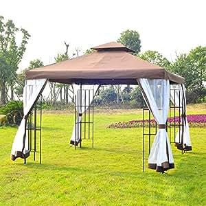 Gazebo de jardín poliéster, diseño de jardín, con tejado doble los Tiene mosquiteras lavables tubo de acero, color marrón y blanco, 295l × 295l 265hcm nueve × 74