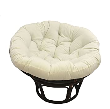 Charmant American Rattan Papasan Chair With White Cream Cotton Polyester Mix Cushion    Adult Size