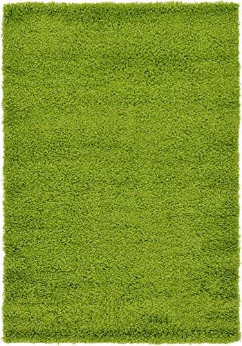A2Z Rug Cozy Shaggy Collection 4x6-Feet Solid Area Rug - Grass Green