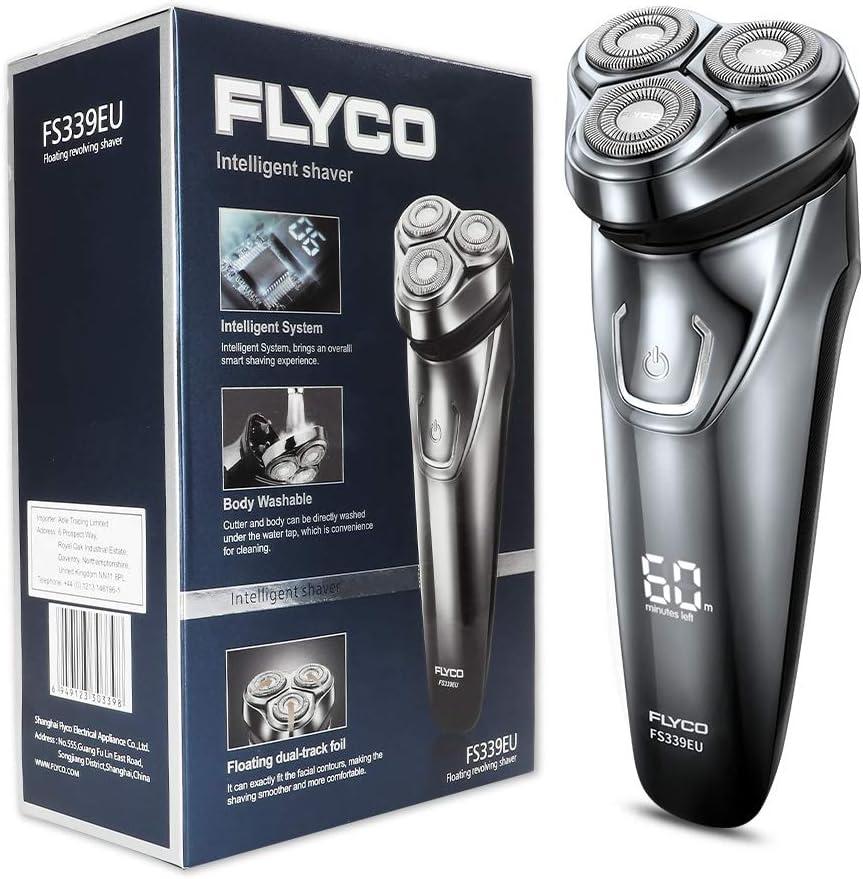 FLYCO Afeitadora Electrica Hombre FS339EU Afeitar Eléctrica Rotativa Para Hombre de Uso Seco & Humedo Indicador LED Sistema IPX7 Impermeable Maquinilla Afeitar Electrica Hombre