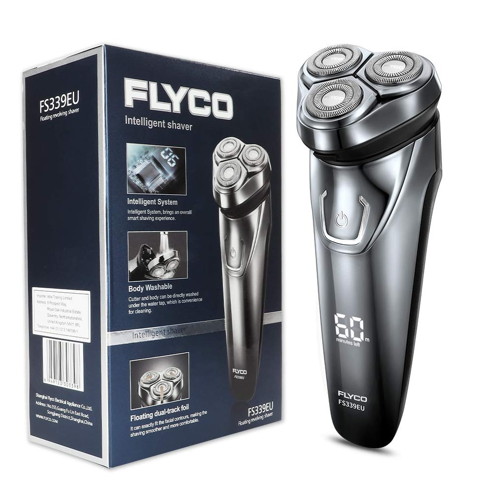 FLYCO Afeitadora Electrica Hombre FS339EU Afeitar Eléctrica Rotativa Para Hombre de Uso Seco & Humedo Indicador LED Sistema IPX7 Impermeable Afeitadora Barba