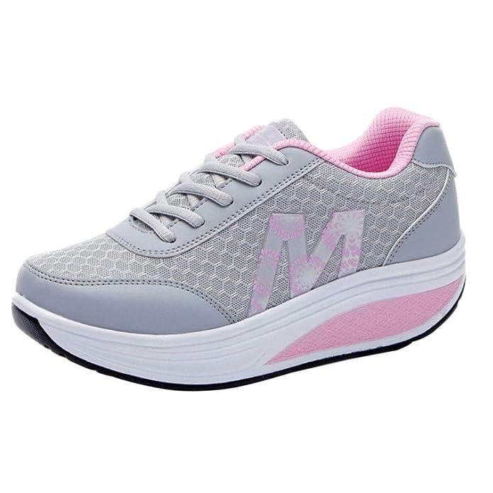 Gtagain Adelgazar Sneakers Zapatillas Plataforma - Malla Transpirable  Mujeres Entrenadores Cuñas Plataforma Moda Informal Cordones Rocker Sole   Amazon.es  ... b377338f4bd6