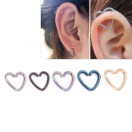 905196251fd9 Distinct 5pcs Acero Inoxidable corazón en Forma de Labio Oreja Nariz Anillo  Piercing del Cuerpo de