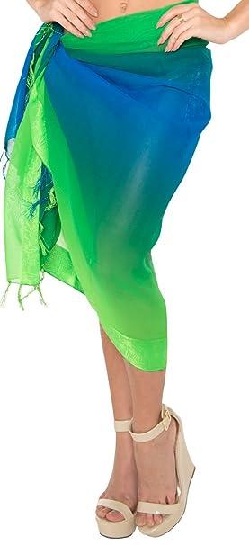 54785db5633 LA LEELA Sheer Plus Size Beach Wrap Sarong Women Plus Cover up Green P30  72 quot X42 quot