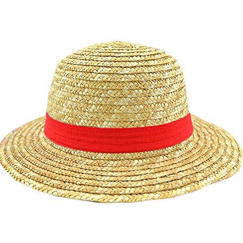 E.a@market Cartoon Anime One Piece Luffy Cosplay Straw Hat Sunhat (beige)