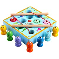 Magnetic Fishing Toys Game Set for Kids for Bath Time Wooden Toddler Toys with 10Fish 1 Fishing Rod and 1 Wood Stand