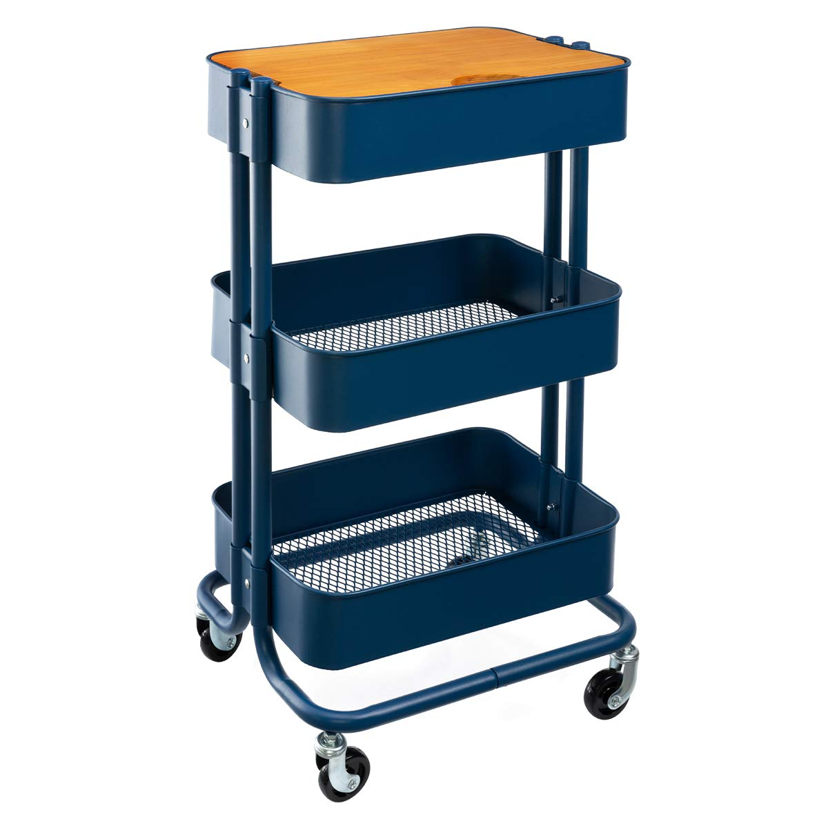 HollyHOME 3-Tier Metal Utility Service Cart Rolling Storage Shelves with Planks, Movable Storage Utility Cart, Navy Blue by HollyHOME