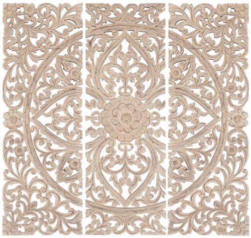 "Jaxon Wall Plaque Set Of 3, S/3 48""Hx48""W, CREAM DISTRESSE"