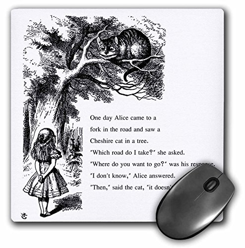 3drose Which Road Do I Take Cheshire Cat Alice in Wonderland - John Tenniel - Mouse Pad (Mousepad Alice In Wonderland)