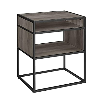 WE Furniture 20u0026quot; Metal And Wood Side Table With Open Shelf   Grey Wash