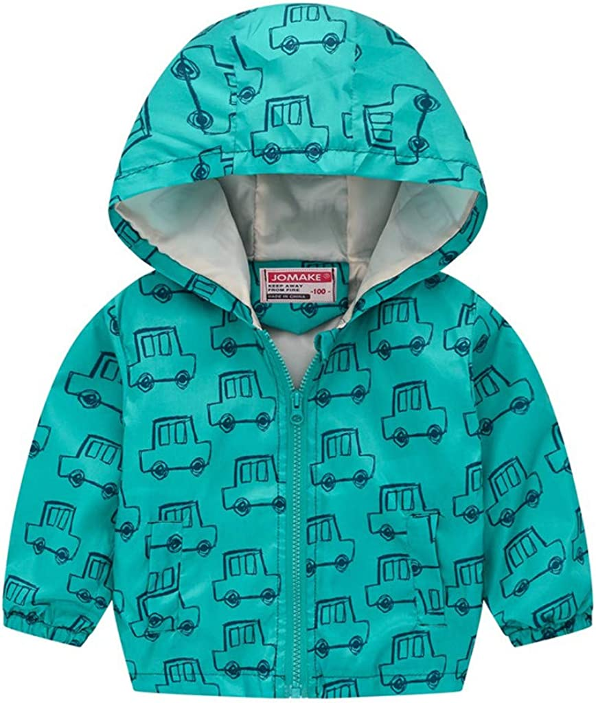 Newmao Toddler Kids Baby Grils Boys Casual Jacket Light Fashion Long Sleeve Floral Print Zipper Hooded Coat