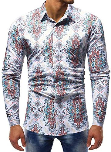 Men's Casual Shirts Men's Casual Large Size Long Sleeve Shirt Fashion Personality Printing Regular Fit (Size : XL)