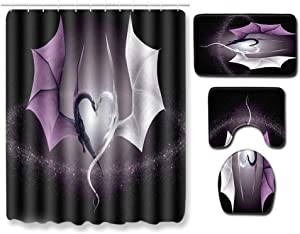 Boyouth 4Pcs White and Purple Dragon Pattern Digital Print Shower Curtains Sets with Bath Mat,Contour Rug,Toilet Lid Cover for Bathroom Decor