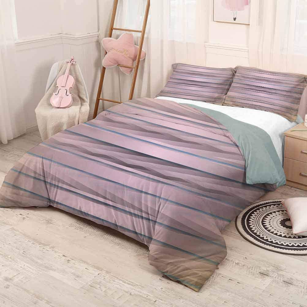 prunushome Modern Three Piece Duvet Cover Sets Earth Toned Fractured Zig Zag Dimensions Horizontal Lines Flat Type Artwork Print Modern Quilt Cover Decor Taupe Teal Twin Size