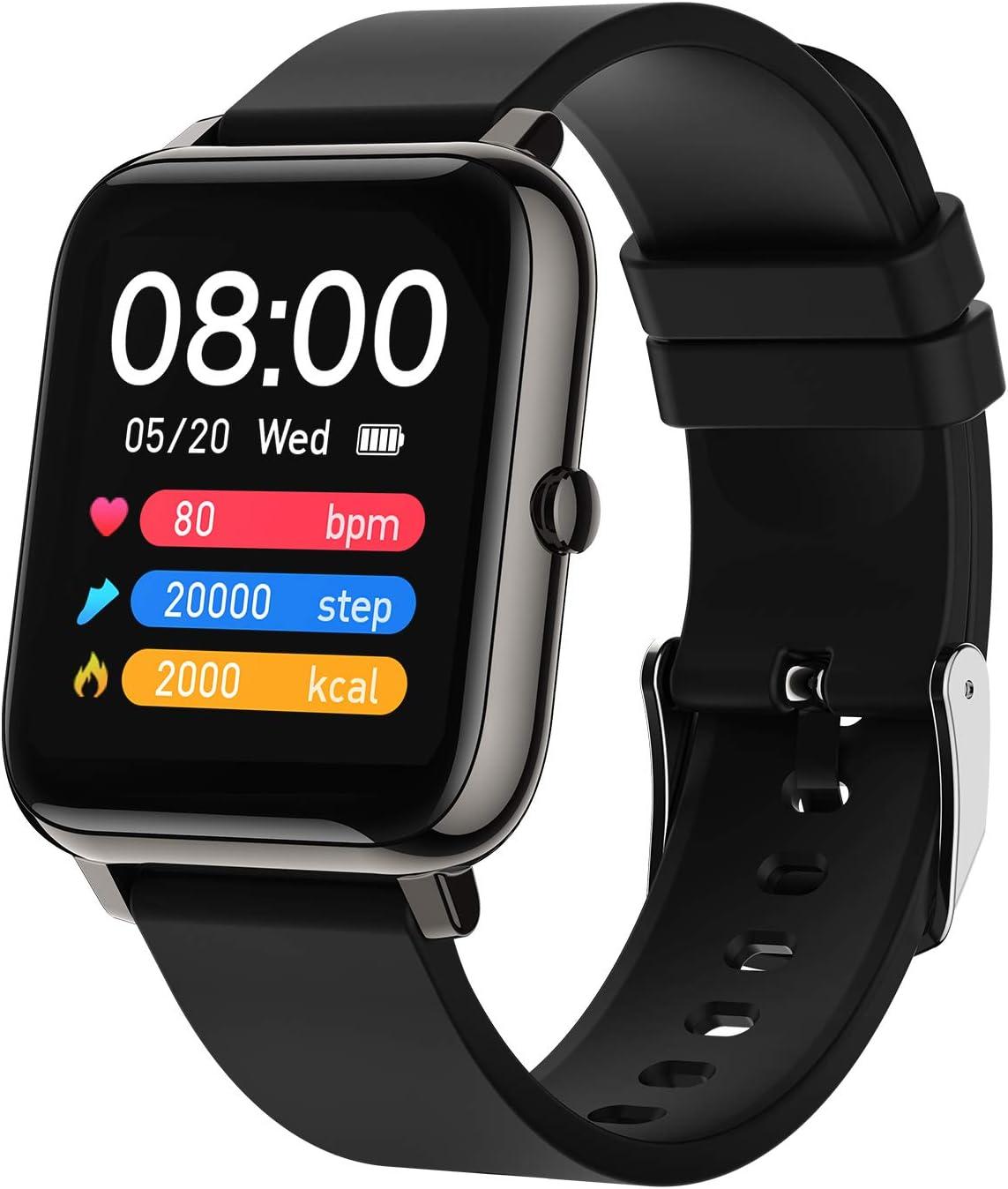 BOZLUN Smartwatch,Reloj Inteligente Impermeable IP67 para Hombre Mujer,8 Modos de Deportes y GPS,hasta 15 días de batería, 1.4 Inch Pantalla Táctil Smartwatch para Android iOS(Color Negro)