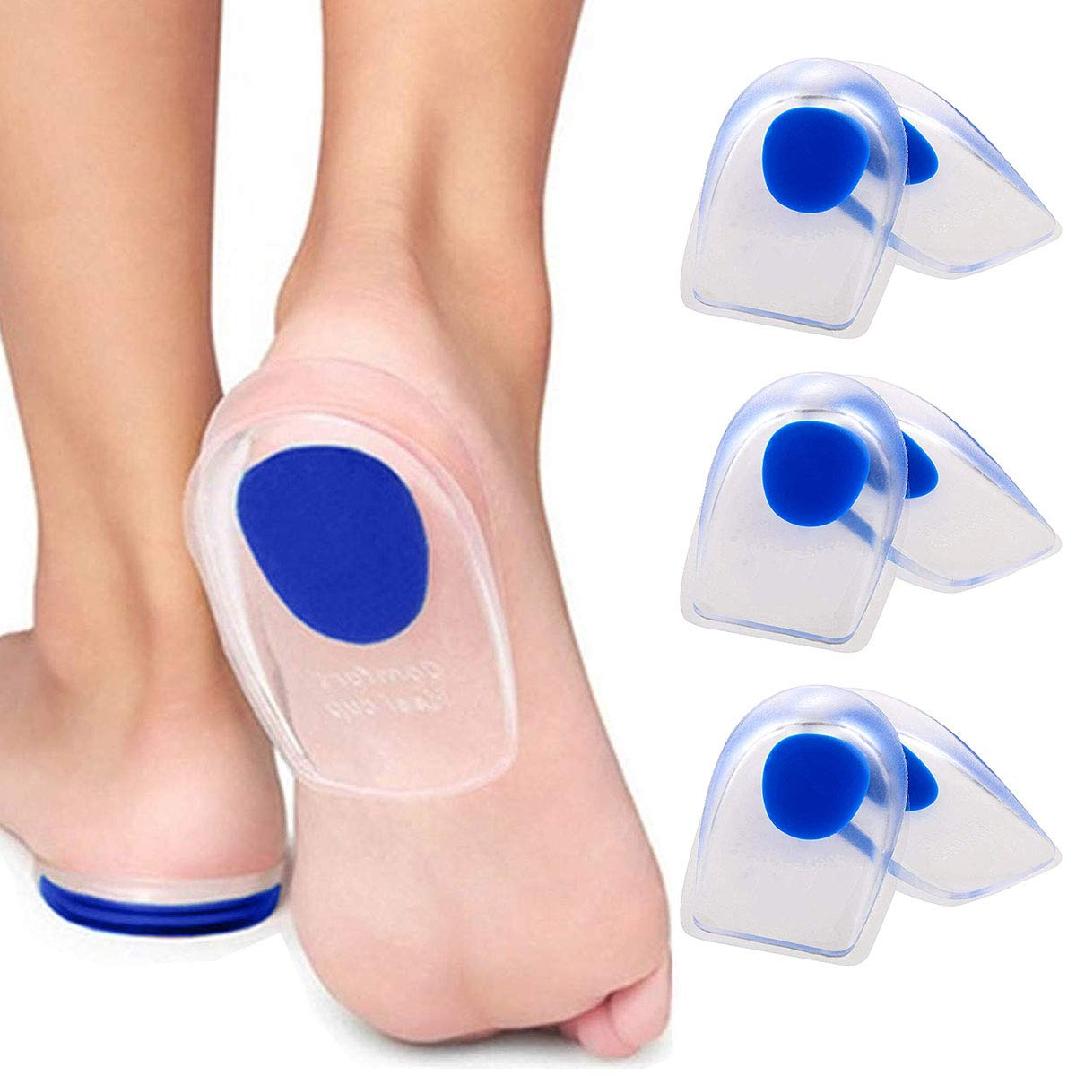 3 Pair Gel Heel Cups Plantar Fasciitis Inserts - Silicone Gel Heel Pads for Heel Pain, Bone Spur & Achilles Pain, Gel Heel Cushions and Cups, Pad & Shock Absorbing Support(Blue Small) by ENERFOOT