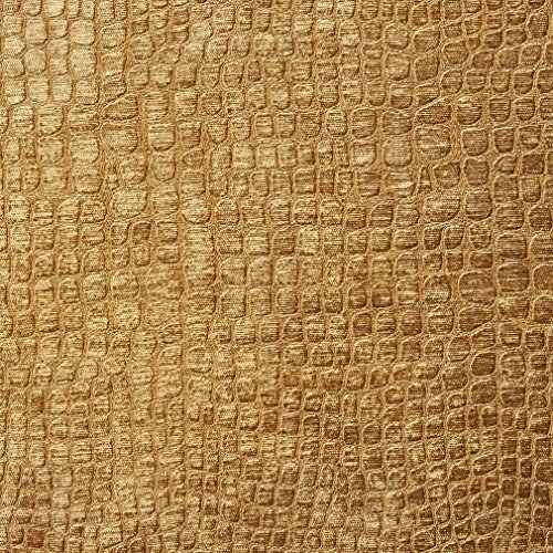 (A0151N Copper Brown Textured Alligator Shiny Woven Velvet Upholstery Fabric by The Yard)