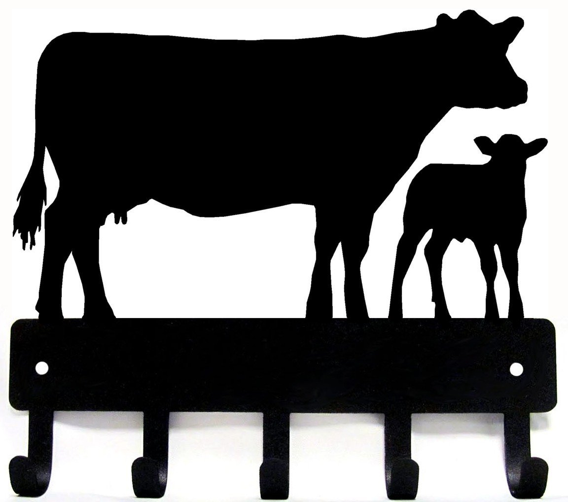The Metal Peddler Cow and Calf Cattle Farm Key Rack with 5 Hooks - Small 6 inch wide