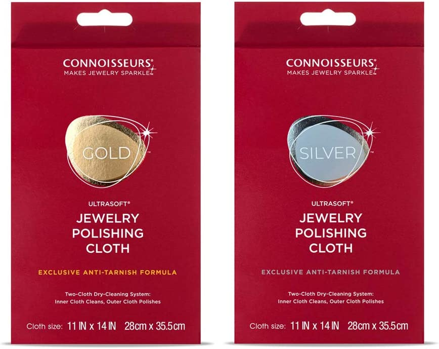 CONNOISSEURS Polishing Cloth Kit Jewelry Cleaner, Violet, 2 Count