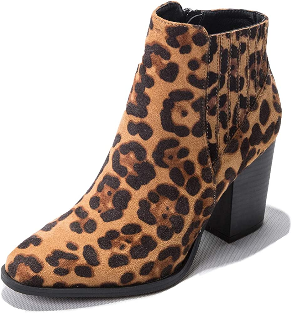 Liuruijia Women'S Fashion Leopard Block hoch Heel Ankle Booties Pointed Toe Seite Zipper Suede Short Boots Fall Winter Dress Shoes Cj19-Dx804