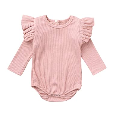 266bb87a522 Amazon.com  Hatoys Infant Baby Boys Girls Solid Ruffles Romper Jumpsuit   Clothing