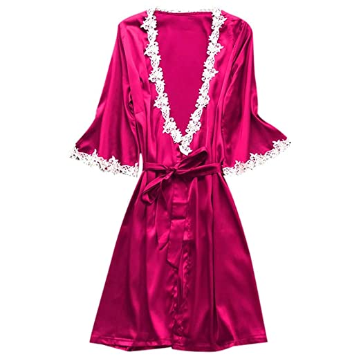 9195d8a293e Womens Sexy Satin Silk Bath Robe Sleepwear Nightgown Pajamas Nightdress Lace  Lingerie Sleepdress Belt S-3XL at Amazon Women s Clothing store