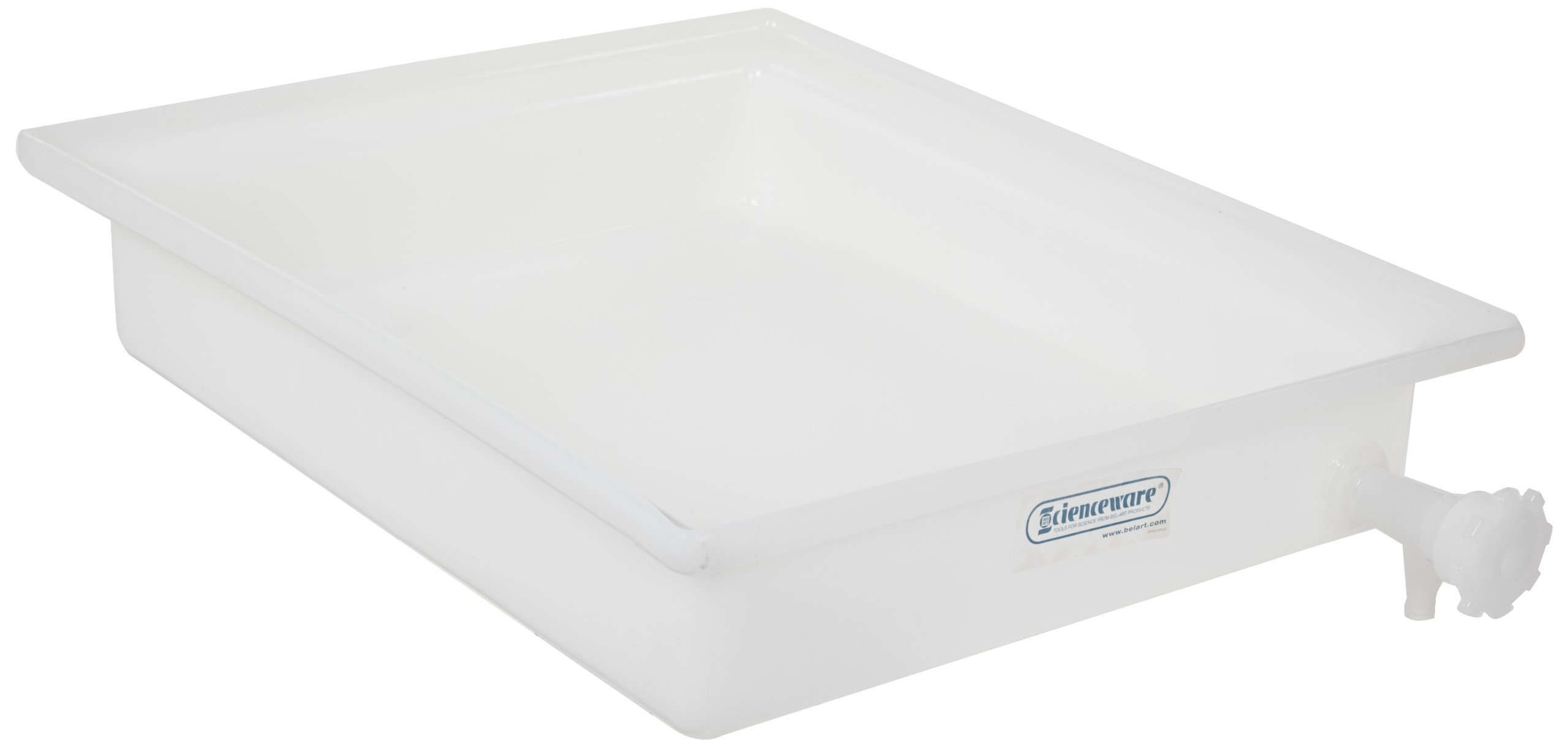 Bel-Art General Purpose Polyethylene Tray with Faucet; 21½ x 25½ x 4 in. (F16293-0000) by SP Scienceware