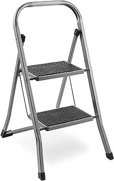Escalera de acero con 2 escalones - Pies antideslizantes - Diseño plegable Fácil de almacenar - Ideal para el hogar/cocina/garaje: Amazon.es: Bricolaje y herramientas