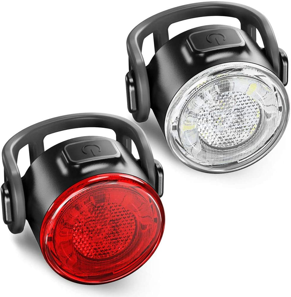 BYB USB Rechargeable Bike Light Front and Back, Safety Bicycle Headlight and Rear LED Bike Light Set, 6 Light Mode Options, IPX4 Waterproof, 2 USB Cables and 4 Straps Included for Easy to Install