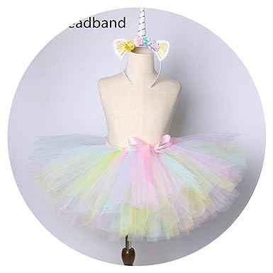 6f90048c1a30c Amazon.com: 1 Set Pastel Rainbow Baby Kids Dance Tulle Skirt: Clothing