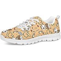 POLERO Zapatos Deportivos para Mujer, Zapatillas Planas con diseño de Osos, Zapatillas de Tenis con Cordones de Malla…