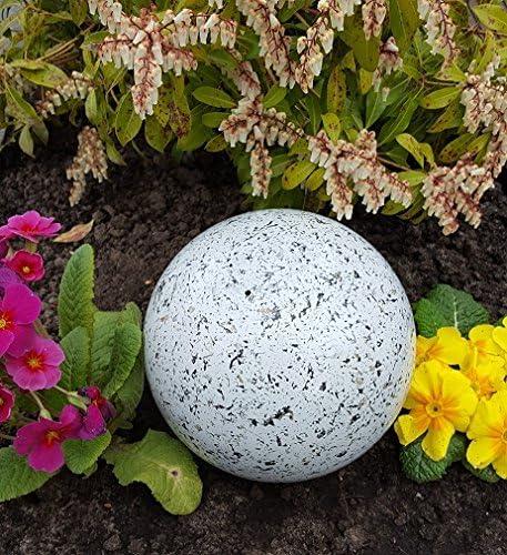 garten-wohnambiente Dekokugel 3er Set 25-20-15 cm Edelstahl Granit rot Kugel Dekorationskugel