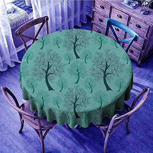 (Leaves Circular Table Cover Pattern of Trees Silhouettes Forest Floral Decor Foliage Country Style Print Outdoors Round Tablecloth Green Teal Diameter 70