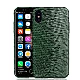 Luxury Case by KEBE Upgrade Lizard Leather Hardshell Back Cover Lightweight Case Shockproof Case for Iphone X 5.8 Inch Green