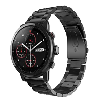 Preventosamente para HUAMI Amazfit Stratos 2 pulsera, nueva correa de reloj de acero inoxidable creativo cierre de metal para HUAMI Amazfit Stratos 2, ...