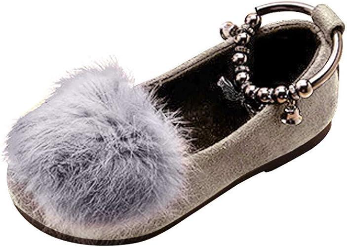Zapatos para Niña Princesa con Pelota de Felpa Calido Zapatilla de ...