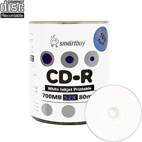 Smartbuy 100 Disc 700mb 80min 52x Cd R White Inkjet Hub Printable Blank Recordable Media Disc