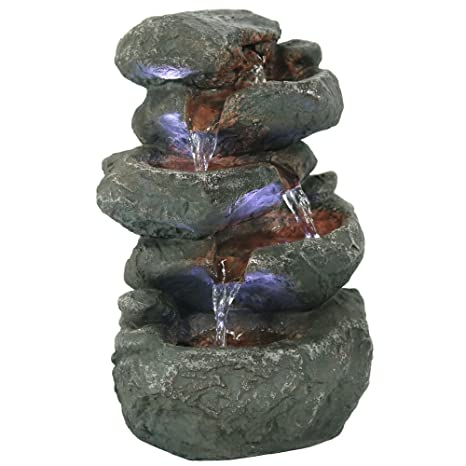 Sunnydaze Tabletop Water Fountain with LED Lights - Stacked Rocks Indoor Waterfall Feature - Quiet and Relaxing Water Sound - Small 10.5 Inch Desktop ...