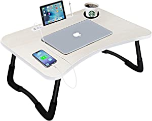 Laptop Bed Desk,Portable Foldable Laptop Tray Table with USB Charge Port/Cup Holder/Storage Drawer,for Bed/Couch/Sofa Working, Reading