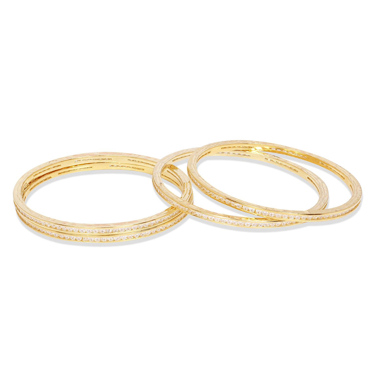 Ratna Indian Bollywood Style Gold Tone American Diamond Bangle Bracelet Traditional Partywear Jewelry