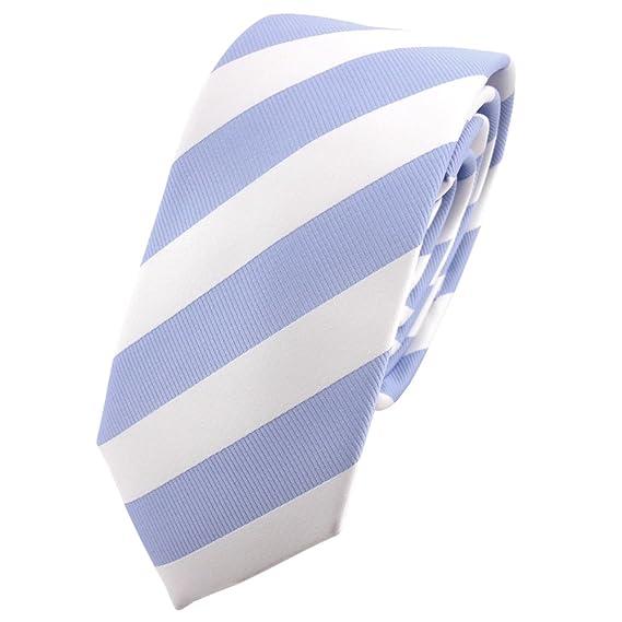 TigerTie - corbata estrecha - azul claro blanco rayas: Amazon.es ...