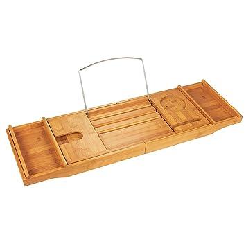 Amazon.com: Bathtub Caddy - Bamboo Bath Caddy, Luxury Bathtub Tray ...