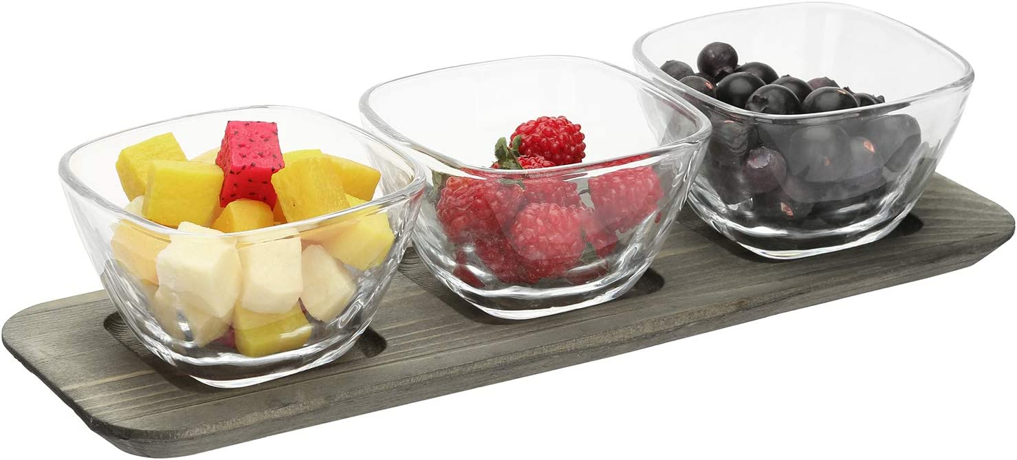 MyGift 4 Piece Vintage Gray Wood Food Serving Platter Tray Condiment Set with 3 Clear Glass Snack Dip and Sauce Bowls