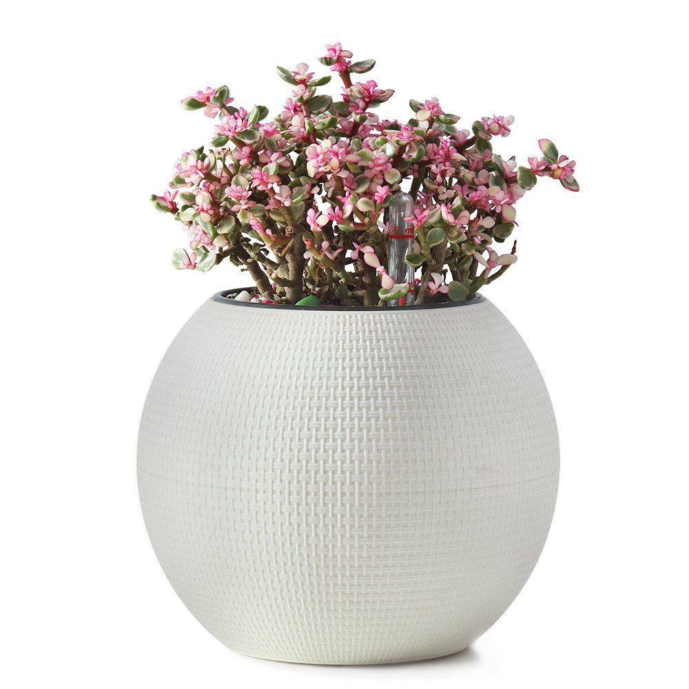 Self Watering Planter Modern Decorative Planter Pot (White)