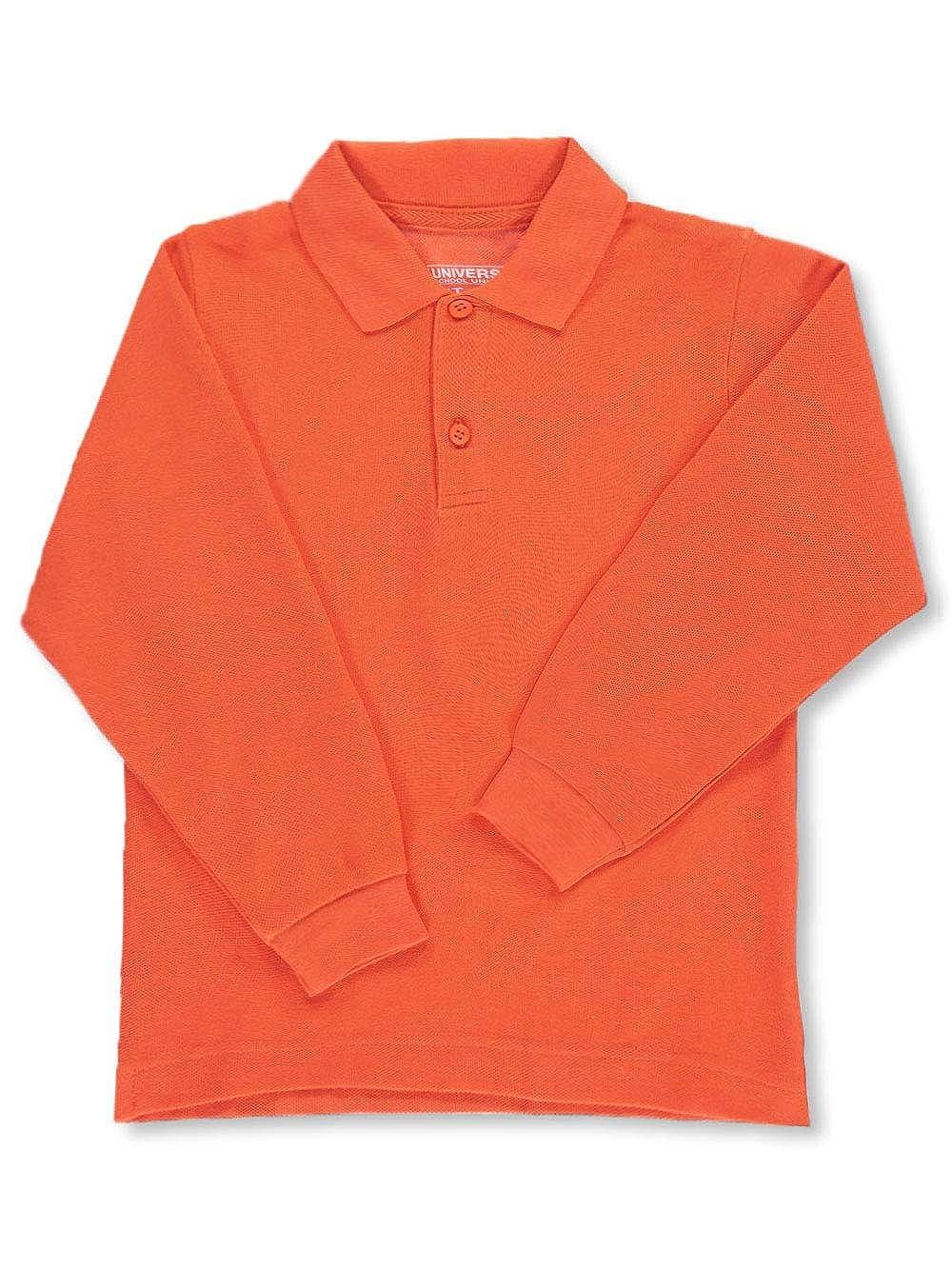Universal Unisex Long Sleeve Pique Polo, Orange, 6
