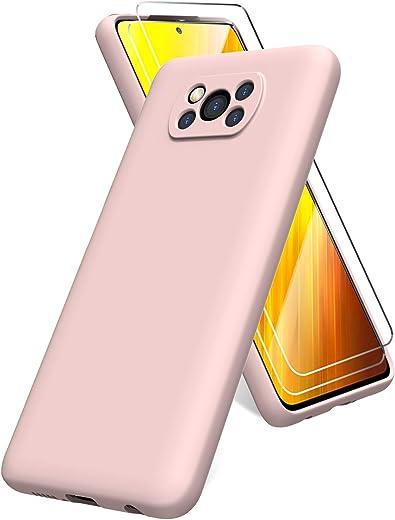 Oududianzi Funda para Xiaomi Poco X3 NFC, Protector Pantalla Cristal Templado, Carcasa de Silicona Líquida Gel Ultra Suave Funda con tapete de Microfibra Anti-Rasguño - Rosa