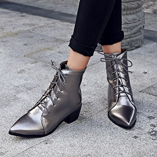 Leather Patent Pointed Boots Mid Gray Blocked Heel Summerwhisper Women's Lace Sexy Toe up Short pqxEvAn