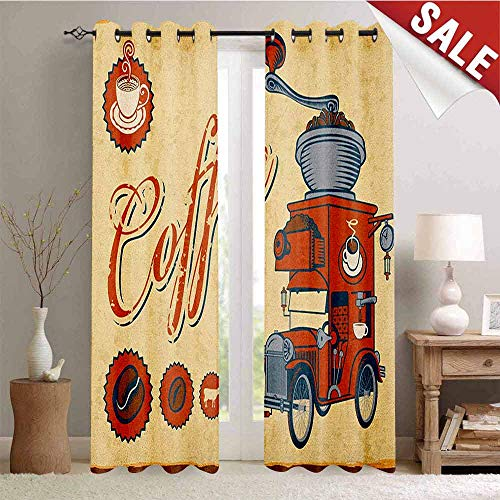 Hengshu Retro Blackout Window Curtain Artsy Commercial Design of Vintage Truck with Coffee Grinder Old Fashioned Customized Curtains W72 x L108 Inch Cream Orange Grey
