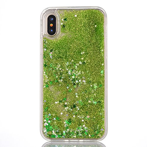 Price comparison product image iPhone X Case,  iPhone X Liquid Case,  SUPZY Twinkle Little Stars Moving sand Liquid Shiny Glitter Sparkle Soft TPU Case for Apple iPhone X (Light Green)