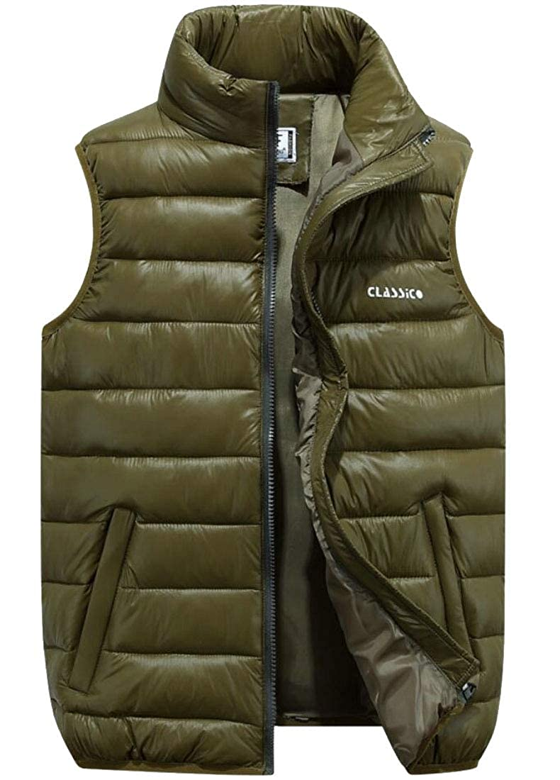 WSPLYSPJY Mens Quilted Sleeveless Winter Thicken Warm Plus Size Down Vest Jackets
